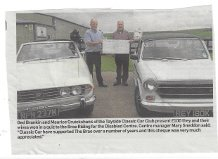 Ged Brankin and Maurice Cruikshank of the Tayside Classic Car Club present a £100 cheque that they and their wives, Aileen and Jackie won in a quiz, to the Brae Riding for Disabled Centre. Centre manager Mary Sneddon said; Tayside Classic Car Club has supported The Brae over a number of years and this cheque was very much appreciated.