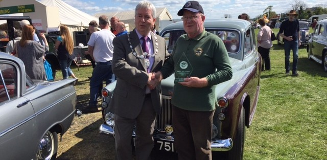 Stirling & District Car Club Show. Tayside win again. Jim & Mary MacLeod's Rover gets a second place in the Best in Show class. Last year, Jim's Riley won first place in Best in Show.