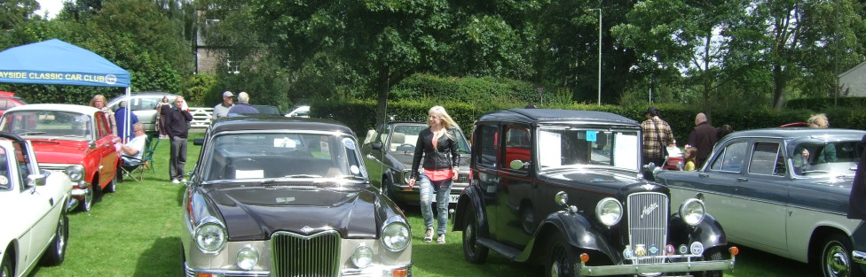 """A good day was had at the Coupar Angus Gala with 14 cars in attendance including recent member Ally Monce from Birkhill with his Lovely 1935 Austin 10 """"Litchfield""""."""