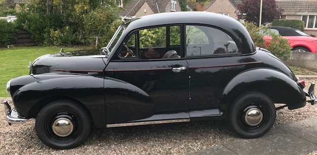 Ally Cruickshank has finished his Morris Minor to the way he wanted. As original as possible. Including, new wiring loom with working semaphores and discreet indicators, carpets and tyres. Its a 1953 split screen  with 948 cc engine. He still has his  MG Roadster and 1979 Mini Special 1100