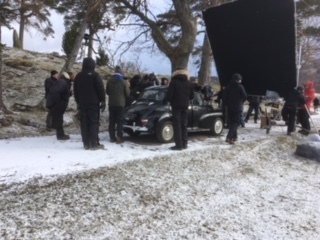Anthony Allen's Morris Minor at the Outlander filming at Kinloch Rannoch